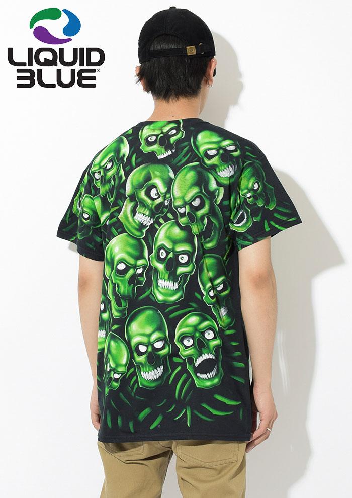 LIQUID BLUEリキッド ブルーのTシャツ Skull Pile Green Black02