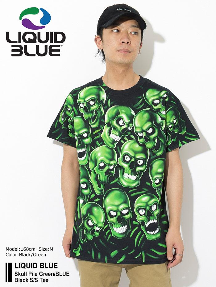 LIQUID BLUEリキッド ブルーのTシャツ Skull Pile Green Black01