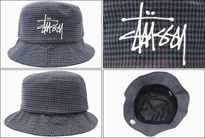 STUSSYステューシーのハット Big Logo Check Bucket Hat02