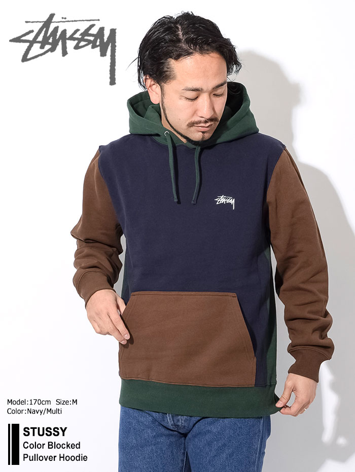 STUSSYステューシーのパーカー Color Blocked Pullover Hoodie01