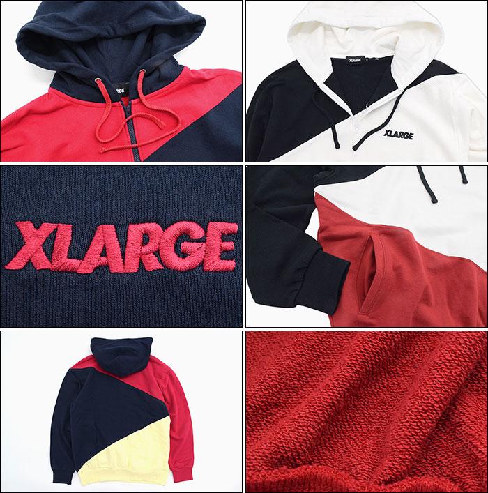 X-LARGEエクストララージのパーカー Paneled Half Zip Hoodie04