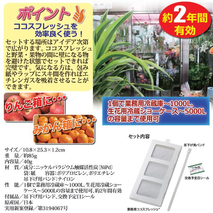 冷蔵庫に一つ入れてください。業務用冷蔵庫なら1000リットル、生花用冷蔵ショーケースは5000リットルの容量まで使用可能です。約2年間もの間、効果を持続し生花や野菜、果物類を長持ちさせてくれます。常温の状態でも使用可能です(空気の流れが多すぎる場所では効果が出にくくなります)。内容物は、身体に安全な物を使用した安心設計。ココスフレッシュ業務用。