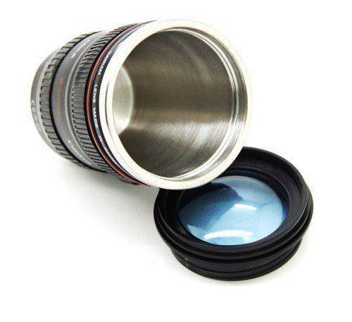 カメラ レンズ仕様 キャノン 保温 レンズ型 マグカップ ブラック 人気グッズ