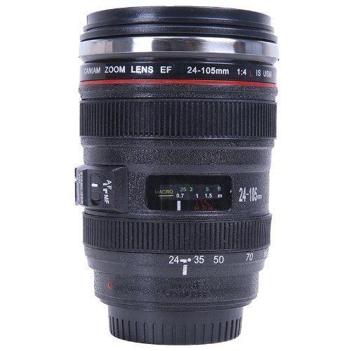 キャノン風 カメラ レンズ仕様 24ー105ミリタイプ 保温 レンズ型 マグカップ ブラック 人気グッズ