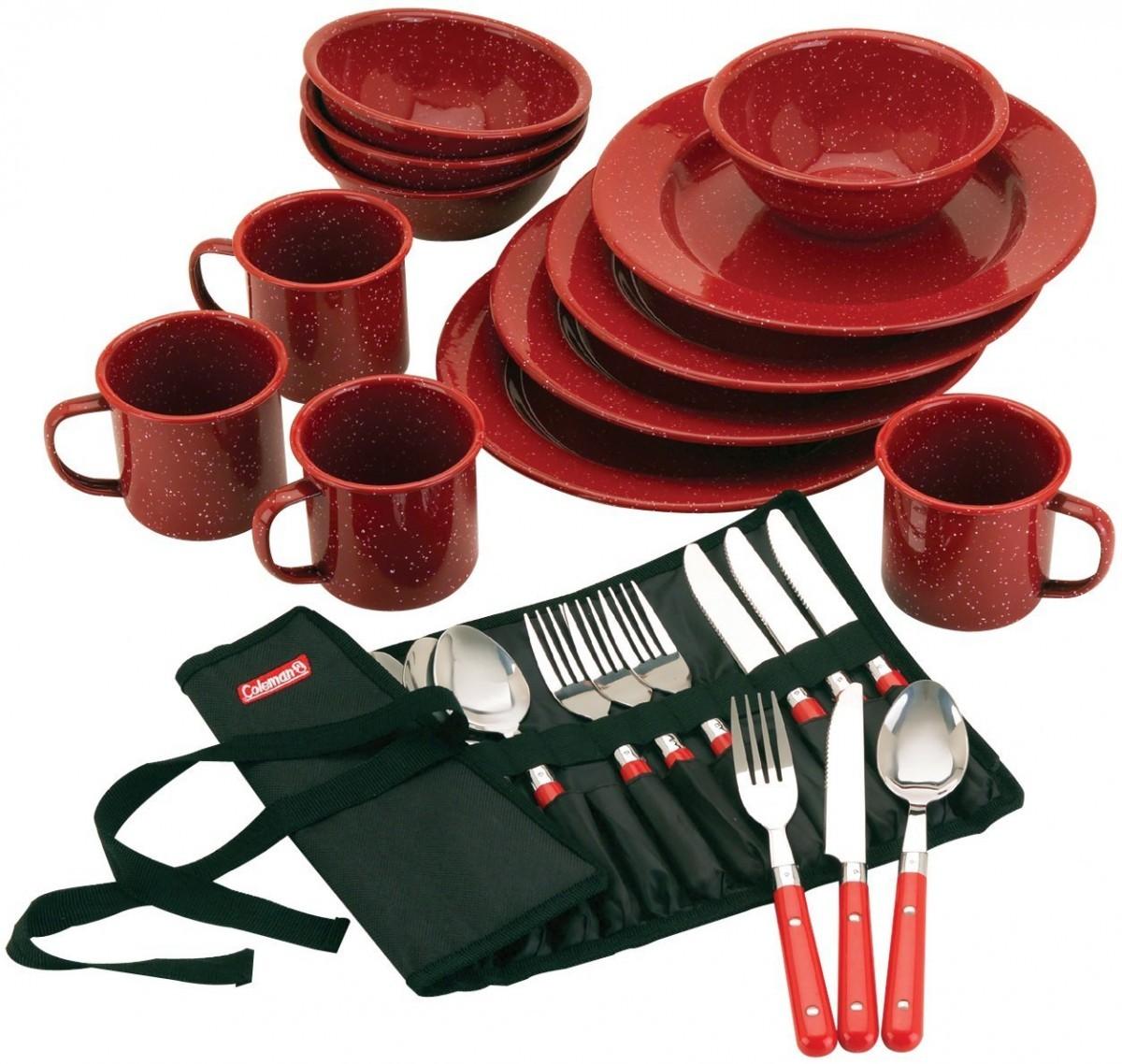 キャンプ用食器セット コールマン 24ピース エナメル テーブルウェアセット