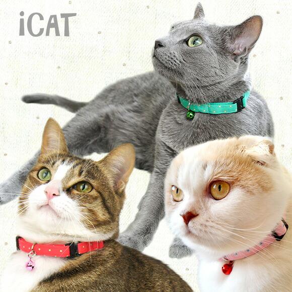 【猫 首輪】iCat アイキャット カジュアルカラー カラフルピンドット【国産 布製 安全】:犬の服のiDog