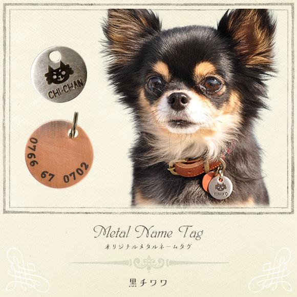 犬 猫 ペット 迷子札 iDog&iCat オリジナルメタルネームタグ 迷子札 黒チワワ ネームプレート 名札 ドッグタグ