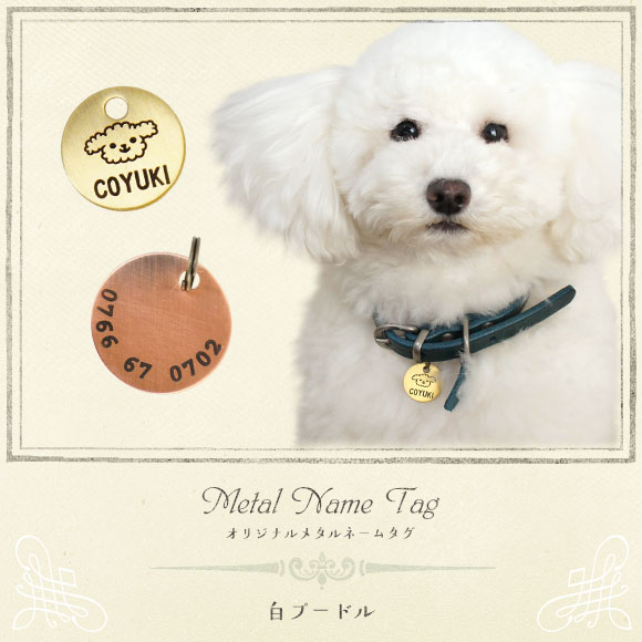 ネームプレート 犬 迷子札 猫 ペット iDog&iCat オリジナルメタルネームタグ 迷子札 白プードル ネームプレート 名札 ドッグタグ