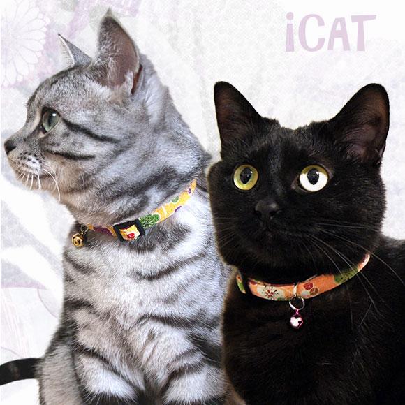 猫 首輪 iCat アイキャット カジュアルカラー 和柄 はんなり梅 猫の首輪 猫首輪 安全首輪