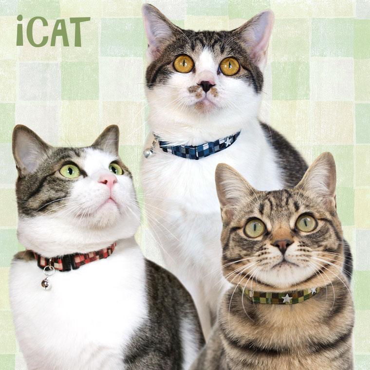 猫 首輪 iCat キティカラー チェック柄×ボーダーリボン 猫の首輪 猫首輪 安全首輪