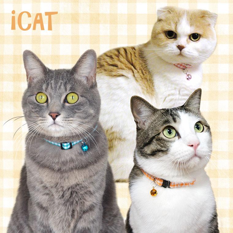 猫 首輪 iCat カジュアルカラー ビタミンギンガム 猫の首輪 猫首輪 安全首輪