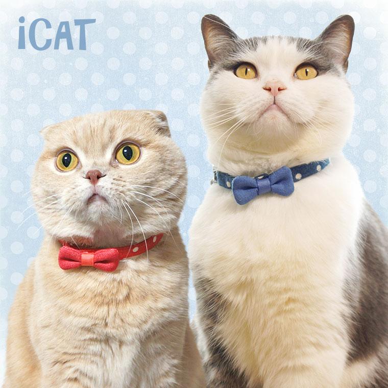 猫 首輪 iCat ラブリーカラー 水玉ガーゼ×デニムリボン 猫の首輪 猫首輪 安全首輪