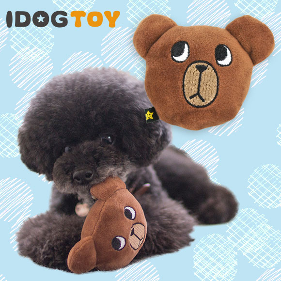 犬 おもちゃ iDog&iCat アイドッグ オリジナル お悩みクマさんボール カラカラ鈴入り 布製 ぬいぐるみ 犬のおもちゃ