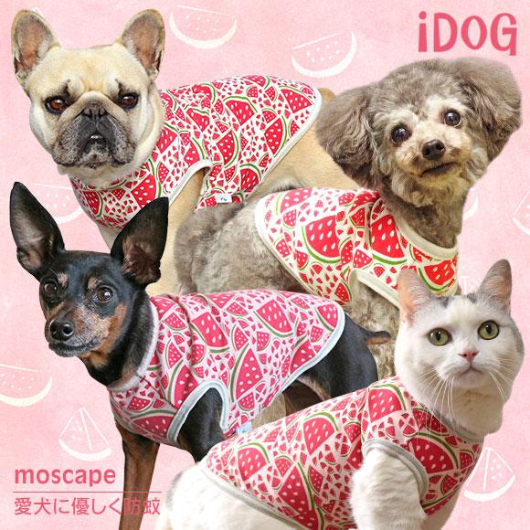 【虫よけ 犬 服】iDog アイドッグ ジューシースイカタンク moscape【モスケイプ 防蚊 防虫 虫除け】:犬の服のiDog