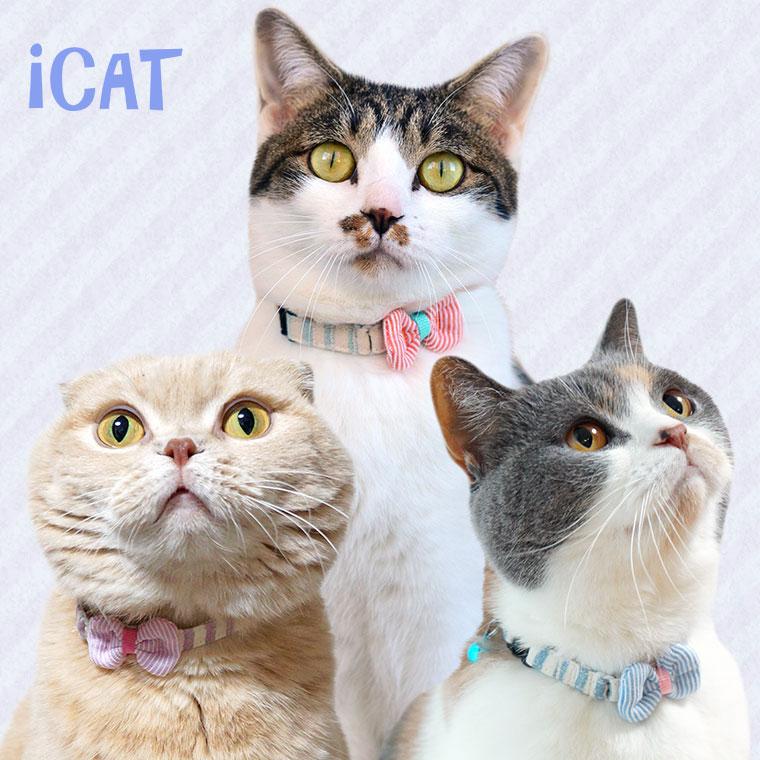 猫 首輪 iCat キティカラー かすれボーダー×ピンボーダーリボン 猫の首輪 猫首輪 安全首輪