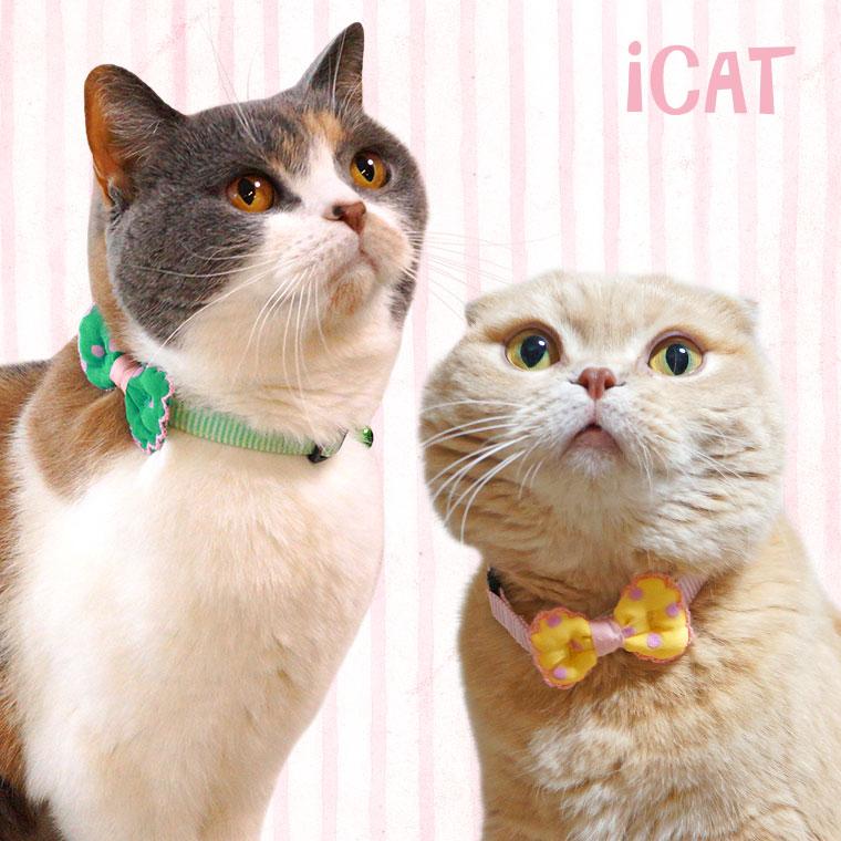 猫 首輪 iCat ラブリーカラー ピンボーダー×水玉リボン 猫の首輪 猫首輪 安全首輪