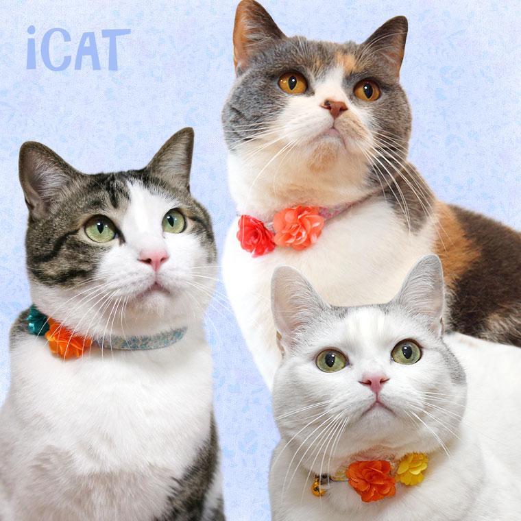 猫 首輪 iCat ラブリーカラー 小花柄×Wフラワー 猫の首輪 猫首輪 安全首輪