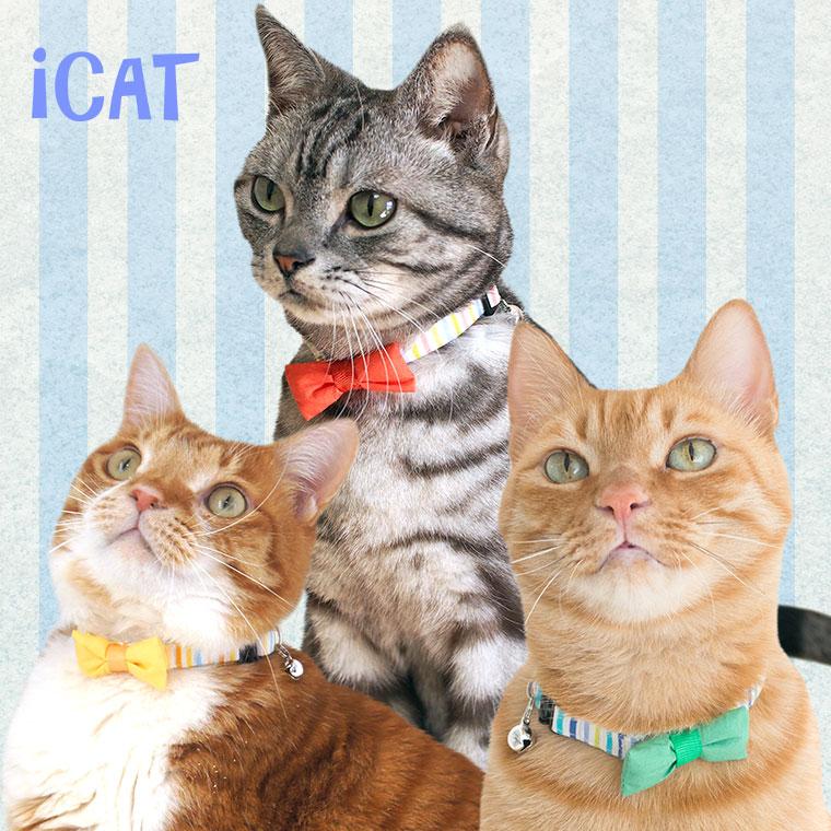 猫 首輪 iCat ラブリーカラー カラフルストライプ×リボン 猫の首輪 猫首輪 安全首輪