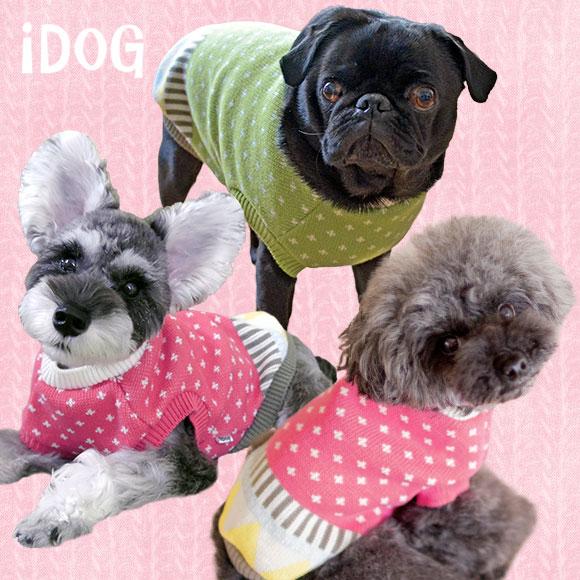 犬 服 iDog ミックスパターンニットタンク アイドッグ 犬の服 犬服