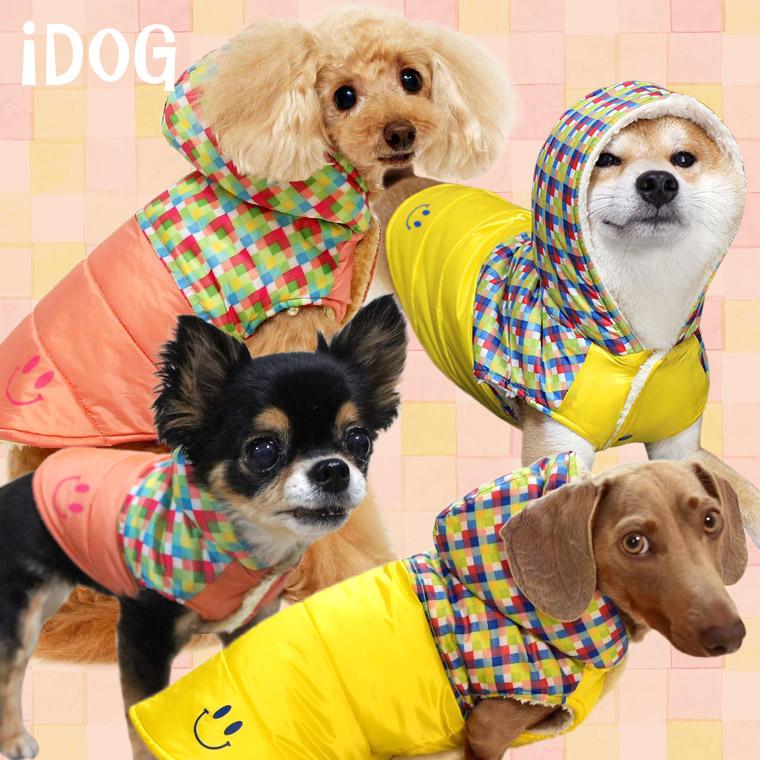 犬 服 iDog チェックスマイル切替ダウン風パーカー アイドッグ 犬の服 犬服