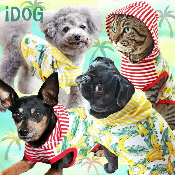 犬 服 夏 iDog 南国バナナボーダーパーカー アイドッグ 犬の服 ドッグウェア 春夏 犬服 バナナ