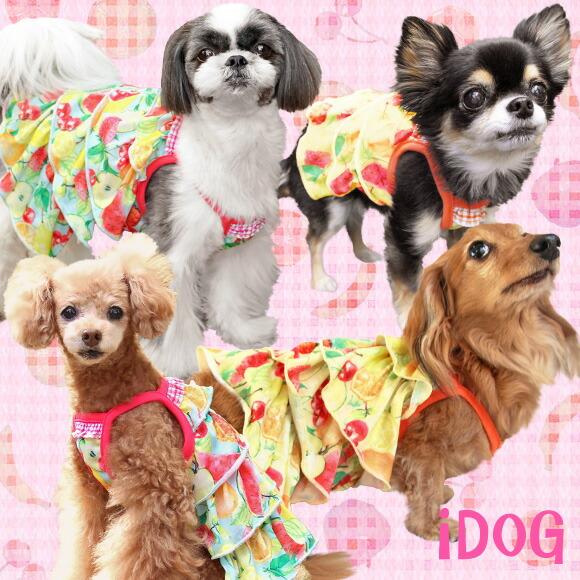 スカート ワンピ ドレス フリル 犬 服 iDog フルーツフリルワンピ アイドッグ 犬の服 犬服