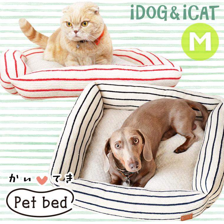 犬 猫 ペット iDog スクエアベッド ボーダー Mサイズ アイドッグ ベッド クッション マット ソファ カドラー