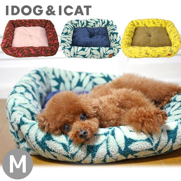 犬 猫 ペット iDog スクエアベッド リーフ サイズM アイドッグ ベッド クッション マット ソファ カドラー