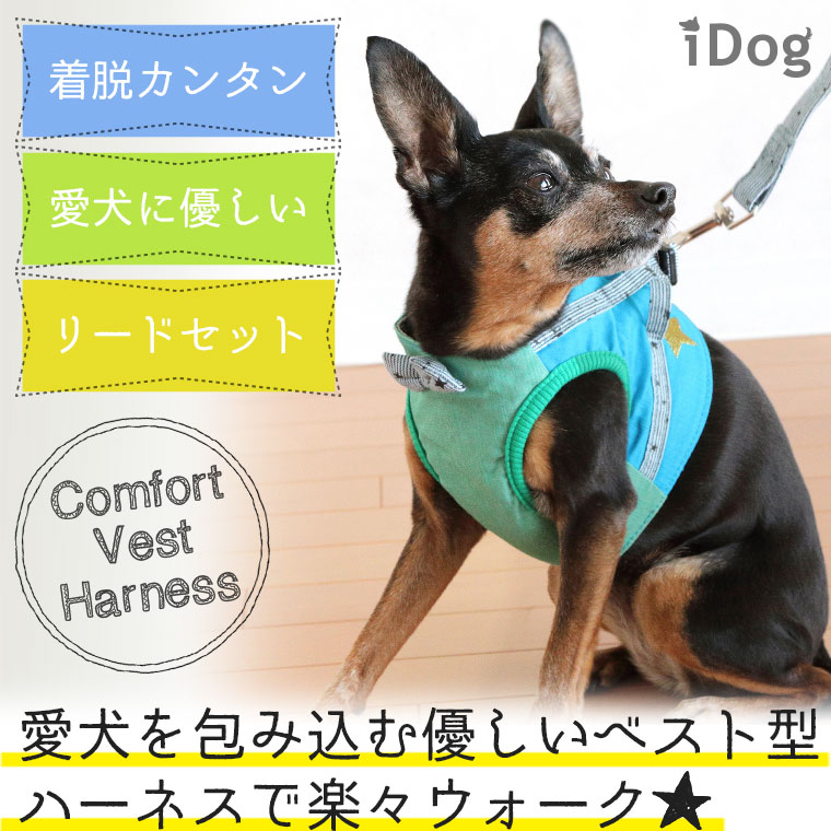 犬 服 リード ハーネス iDog 犬用コンフォートハーネス リード付き リボンと切替ストライプスター アイドッグ 犬のハーネス ベスト