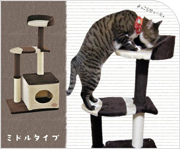猫 キャットタワー アドメイト ADD.MATE猫のおあそびポールお魚ファミリー ミドルタイプ 据え置き 突っ張り ハンモック