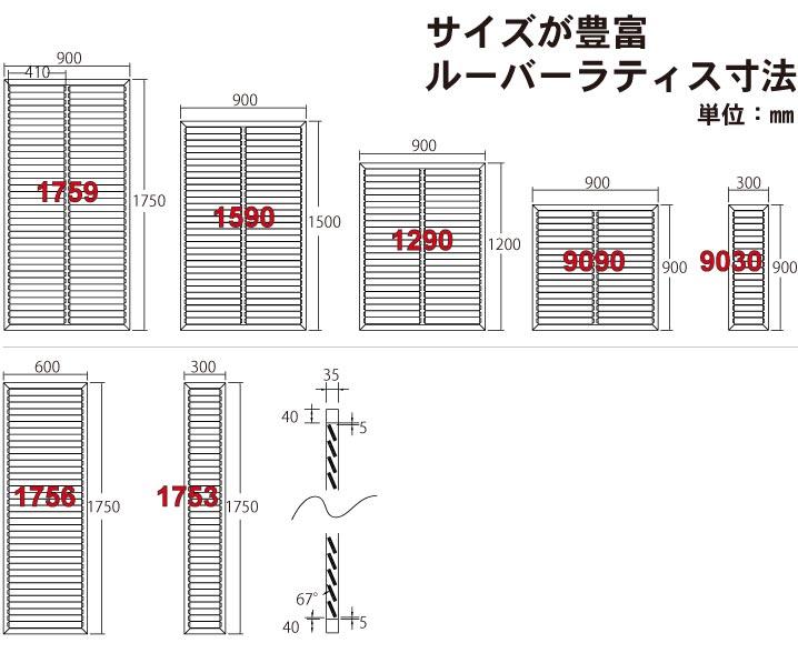 ルーバーサイズ表