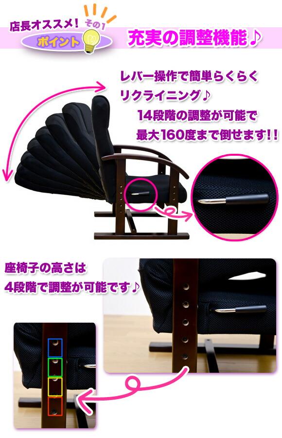 充実の調整機能 レバー操作で14段階・160度リクライニング 座椅子の高さは4段階で調整 イメージ写真