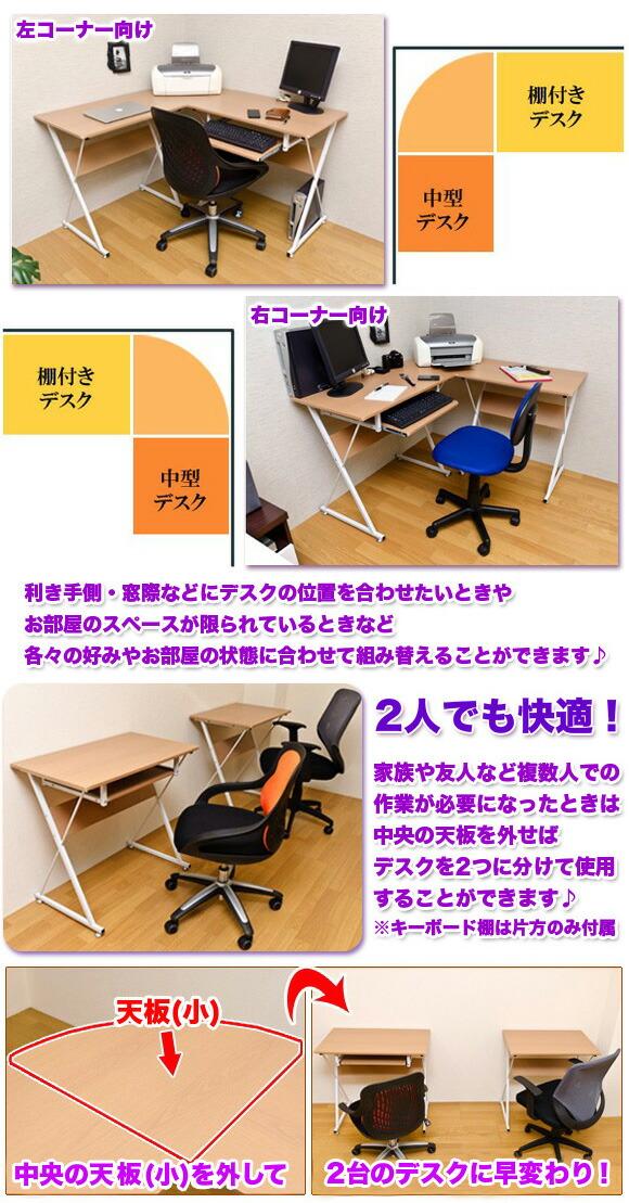 左コーナー向け 右コーナー向け お部屋の状態に合わせて組み替え可能な机 中央の天板を外せばデスクが2つに イメージ写真