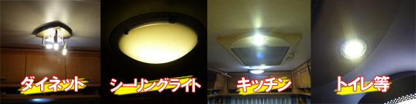 キャンピングトレーラーHobbyのダイネット照明に円筒型LEDだとガラスの筒の中に入ります。
