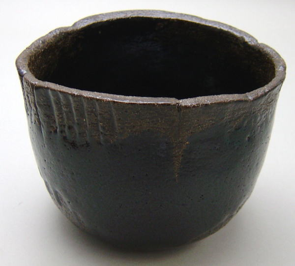 抹茶茶碗 黒楽茶碗 光悦写し 雨雲 中村康平作(梅山窯) 御物袋付
