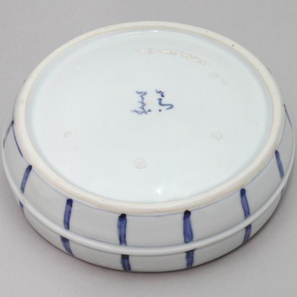 九谷焼き 染付桶菓子鉢 須田菁華作