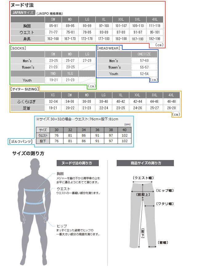 アンダーアーマーのメンズサイズ表