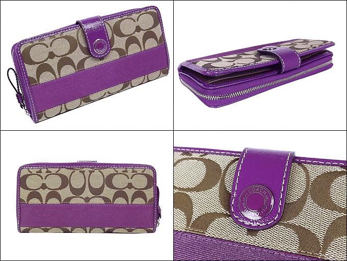 Coach COACH ☆ purse (wallet) F47718 47718 khaki x purple signature stripe  accordion zip around outlet products 122dc0dd92