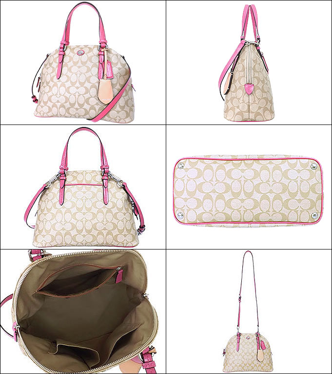 Coach COACH ☆ bags (handbags) F24606 24606 light khaki x Strawberry Peyton  signature Cola ドームド satchel outlet products ec261645a7