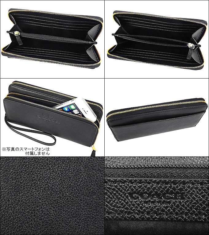8e3fc3611d71 コーチ COACH☆財布(長財布)F52718 52718 ブラック COACH ペブルド レザー ダブル アコーディオン ジップ アラウンド  アウトレット品