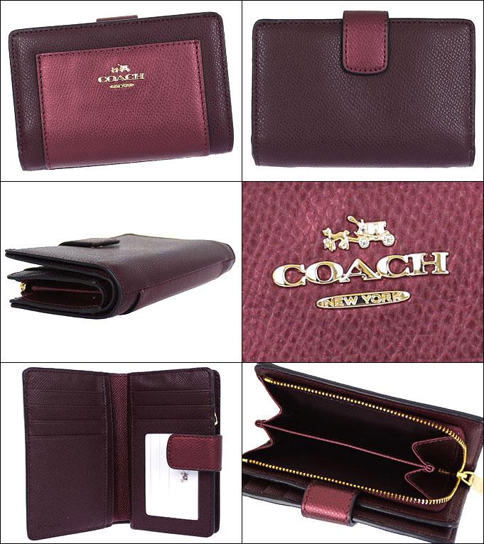 fdb0db13954d Coach COACH ☆ wallet (two bi-fold wallet) F53437 53437 leather x metallic  cherry luxury by color metallic cross-grain leather medium corner zip wallet  ...