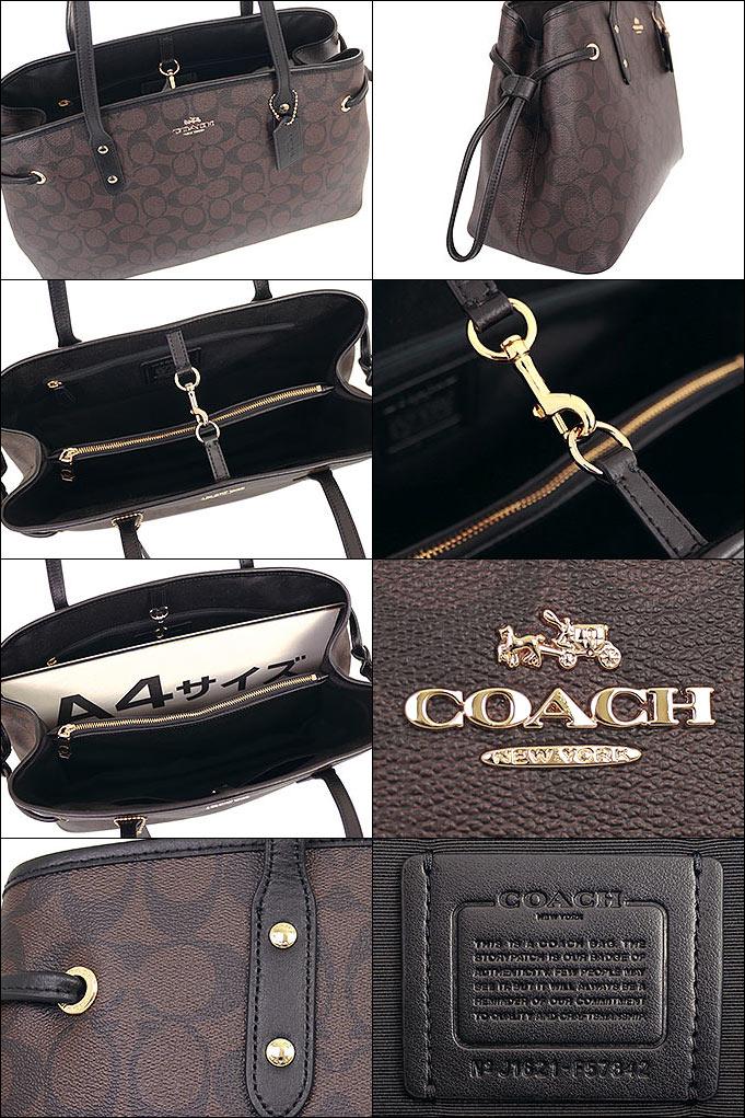 0ce9c0cb3e16 コーチ COACH☆バッグ(トートバッグ)F57842 57842 ブラウン×ブラック ラグジュアリー シグネチャー PVC ドローストリング  キャリーオール アウトレット品