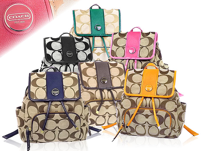 Coach COACH ☆ bag (backpack) F21928 21928 khaki x Mulberry signature stripe  backpack outlet products b29bb3f3b1