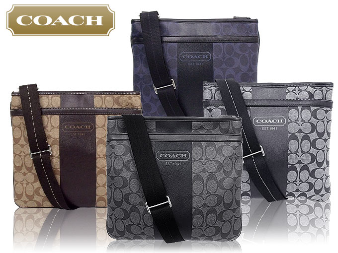 8912725e21 Coach COACH ☆ bag (shoulder bag) F70591 70591 khaki   Brown 2 heritage  stripe signature small zip top Crossbody outlet products