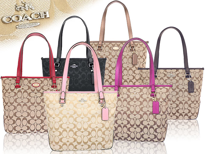 341f20ad6de3 Coach COACH ☆ bags (tote bag) F36375 36375 khaki x Cranberry 2 12CM  signature zip top Tote small products at outlet prices
