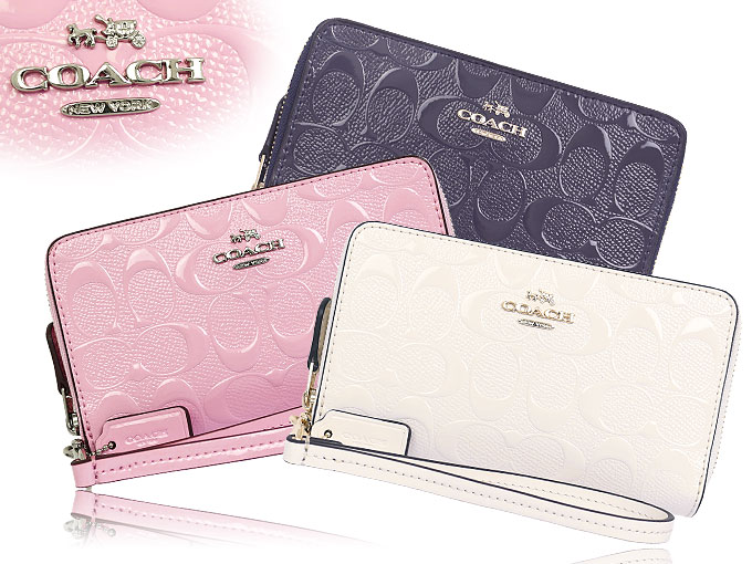 3e7ca7fa0 Coach COACH ☆ wallet (two bi-fold wallet) F53310 53310 stone debossed  signature patent double zip phone wallet outlet products