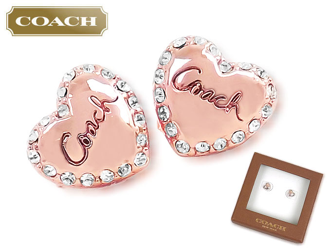 Coach Accessories Earrings F90611 90611 Products At Outlet Prices Rose Valentine Heart Pave With Box