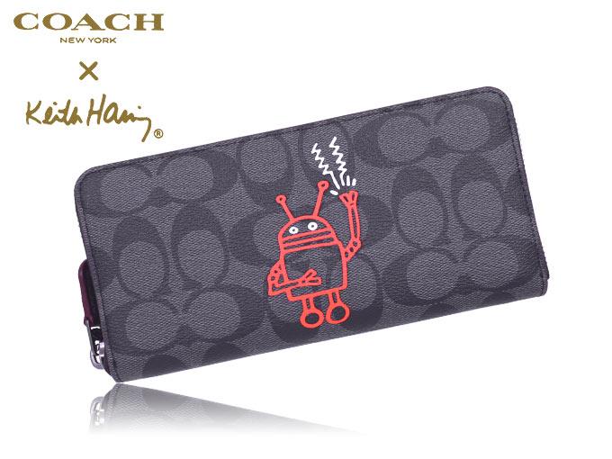 7f86ca9de5f242 コーチ COACH☆財布(長財布)F87105 87105 チャコール×ブラック コーチ×キース・ヘリング Keith Haring コラボ  シグネチャー PVC レザー アコーディオン ジップ ...