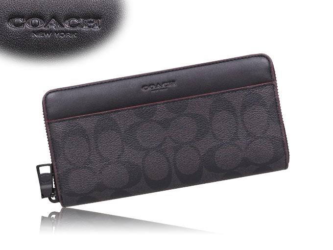 7316073aecc6 コーチ COACH☆財布(長財布)F25517 25517 ブラック×ブラックオックスブラッド シグネチャー PVC レザー アコーディオン  ジップアラウンド アウトレット品