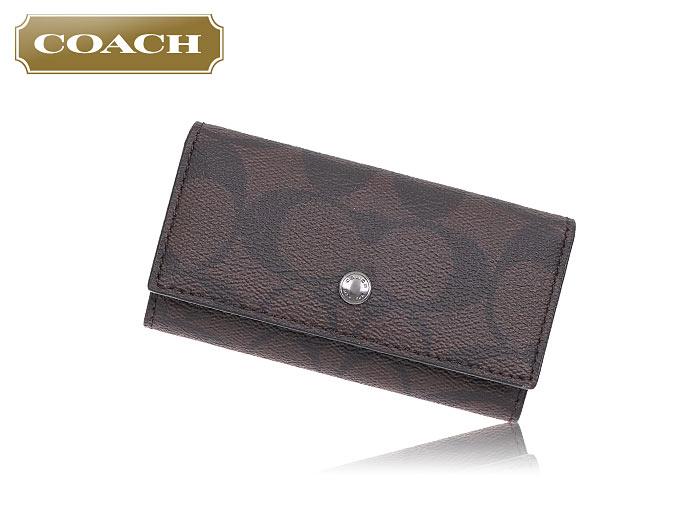 ad3337f2cc08 コーチ COACH☆小物(キーケース)F26104 26104 チャコール×ブラック シグネチャー PVC レザー 4連 キーケース アウトレット品